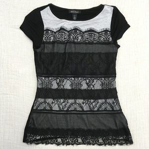 White House Black Market Black Gray Lace T-Shirt